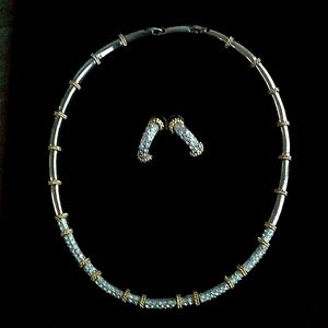 c'80s VINTAGE Gold & Silver Tone Necklace& Earring
